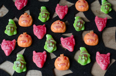 Group of candies for Halloween. Holiday background. Stock Photo