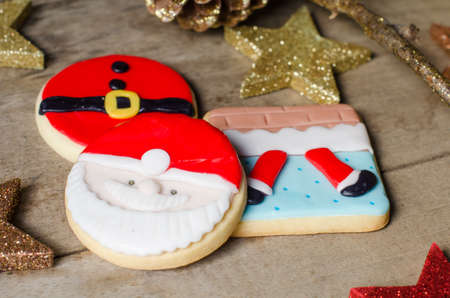 sugar cookie: Colorful Christmas cookies decorated with fondant.