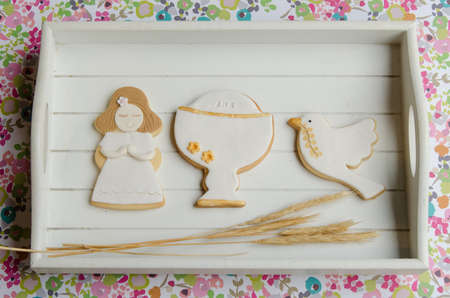 Cookies for a First Communion decorated with fondant