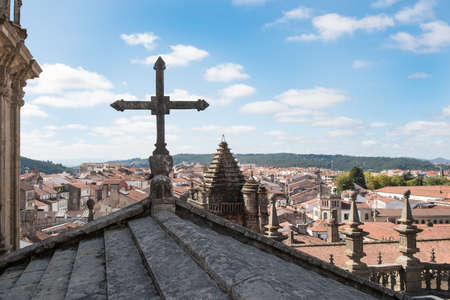 Views of the city of Santiago de Compostela (Galicia) from the roofs of its cathedral Stock Photo