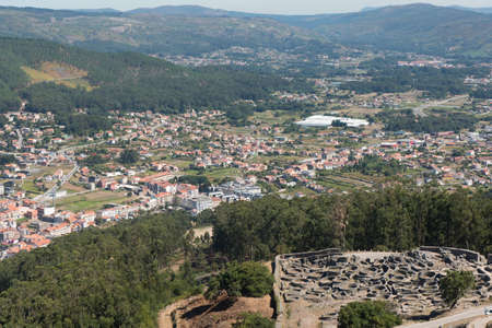 Ruins of ancient Celtic village in Santa Tecla, Pontevedra,  Galicia, Spain. Stock Photo