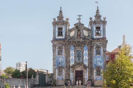 Colourful fachade of Saint Ildefonso Church in Porto city, Portugal