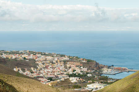 Landscape view of San Sebastian city with Tenerife island on the background
