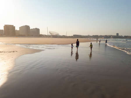 Beautiful tender sunset at Matosinhos beach in Porto, Portugal Stock Photo - 103295700