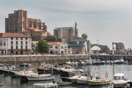 CASTRO URDIALES, SPAIN - 24 MAY, 2018 : Harbour of Castro Urdiales, Cantabria, Spain on 24 May 2018. Stock Photo - 103418535