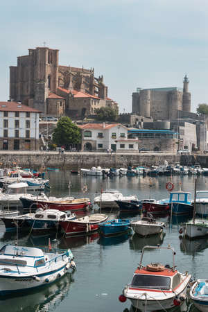 CASTRO URDIALES, SPAIN - 24 MAY, 2018 : Harbour of Castro Urdiales, Cantabria, Spain on 24 May 2018.
