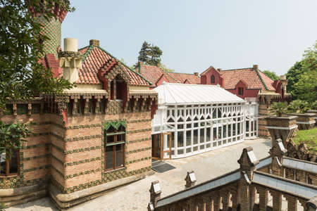 Comillas, Spain - May 23, 2017: Palace of El Capricho or Villa Quijano by the architect Gaudi in modernist style, in the village of Comillas in Cantabria, Spain Editorial