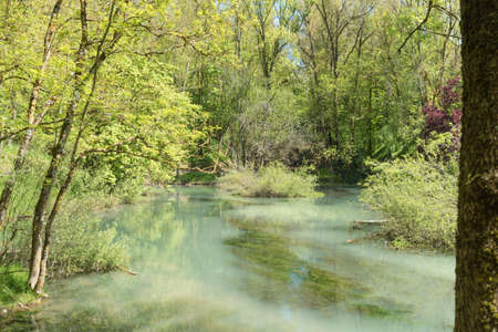 Birth of the Ebro River in Fontibre, Cantabrial, Spain Stock Photo - 105777262