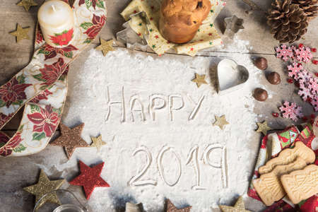 Happy 2019 text made with flour.