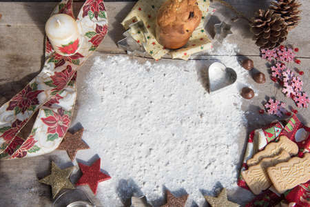 Christmas food background. Seasonal concept. Copy space to write. Stock Photo - 107735157