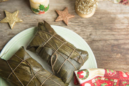 Hallacas, typical dish in the Christmas festivities of Venezuela. Stock Photo