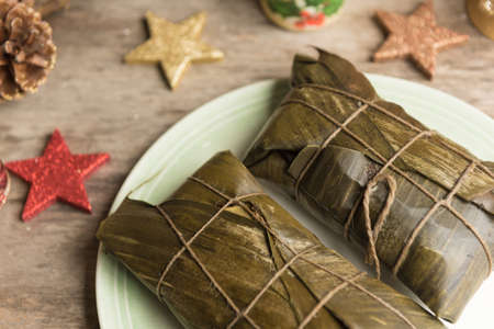 Hallacas, typical dish in the Christmas festivities of Venezuela. Stock Photo - 109163108