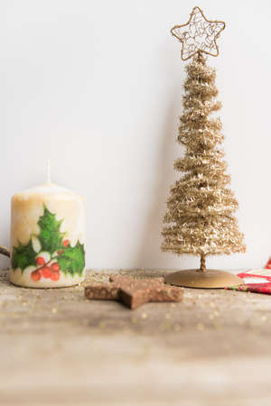 Christmas decoration on white and wooden background. Stock Photo - 109797735
