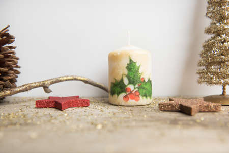 Christmas decoration on white and wooden background. Stock Photo - 109797734