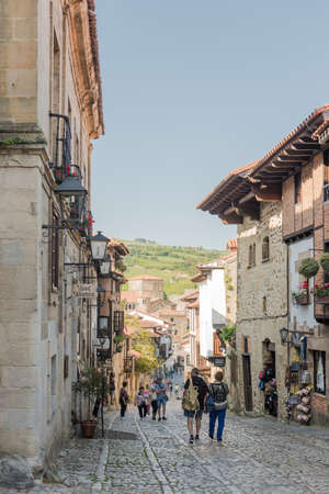 SANTILLANA DEL MAR, SPAIN - MAY 21, 2018: Street with typical architecture in Santillana del Mar, a famous historic town in Cantabria, Spain.