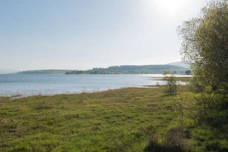 Beautiful landscape of the Ebro reservoir, Cantabria, Spain.