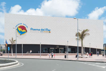 Las Palmas de Gran Canaria, Canary Islands, Spain - July 1st 2018: View of the Aquarium (Poema del Mar) building in Gran Canaria.