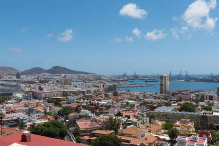 Panoramic view of Las Palmas de Gran Canaria with the port in the background