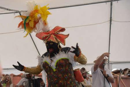 SANTA CRUZ DE LA PALMA, CANARY ISLANDS, SPAIN - MARCH 04, 2019: La Negra Tomasa Dance during  Los Indianos Carnival Party in La Palma island.