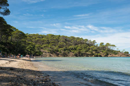 Paradisiacal beach of Notre Dame, island of Porquerolles, archipelago of the Îles d'Hyères, in the south of France.