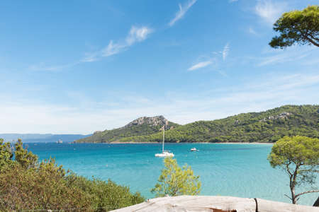 Beautiful bay in Porquerolles island, archipelago of the Îles d'Hyères, in the south of France.