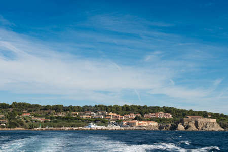 Views of the port of La Tour Fondue from the boat that travels to the island of Porquerolles, in the south of France.