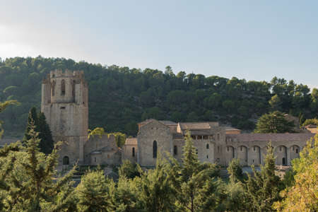 The abbey of Lagrasse. The medieval stone architecture and the old narrow street of Lagrasse, the most beautiful medieval village of France.