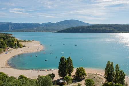 Beach of the Sainte Croix of Verdon lake, provence, France. Taken from de village of Sainte Croix du Verdon