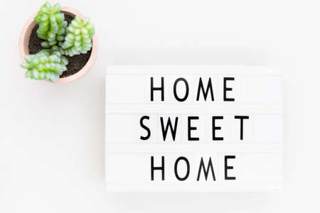 Lightbox with text: home sweet home Stock Photo