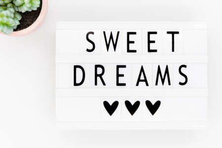 Lightbox with text: sweet dreams