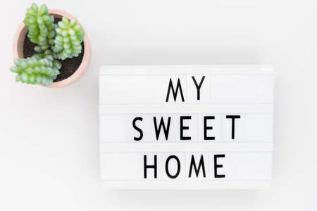 Lightbox with text: my sweet home