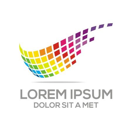 formation: logo wing pixels fast speed business development vector Illustration