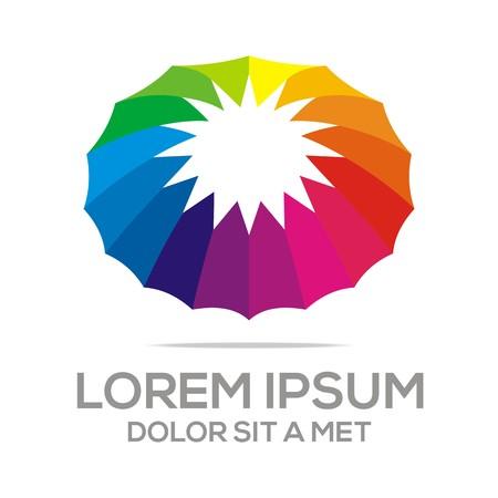 rainbow umbrella: Logo Umbrella Abstract Star Logo Rainbow Colorful