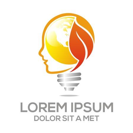 lighting button: Lamp Head Icon Leaf Idea Illustration