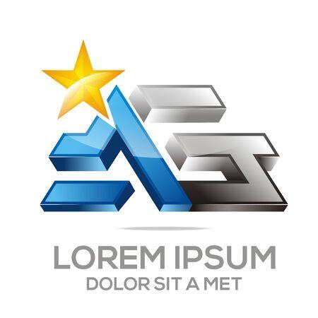 ag: vector Letter AG star Alphabet
