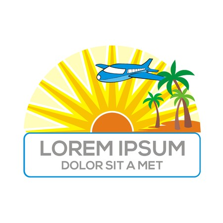 beach holiday: Logo eco sun beach holiday plane vector