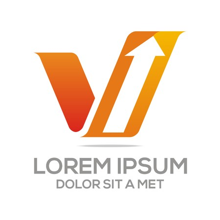 Logo Vector Letter V Arrow Çizim