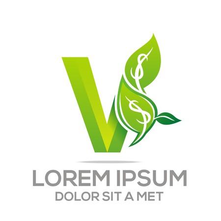 leaf shape: Logo Vector Letter V Leaves icon Illustration