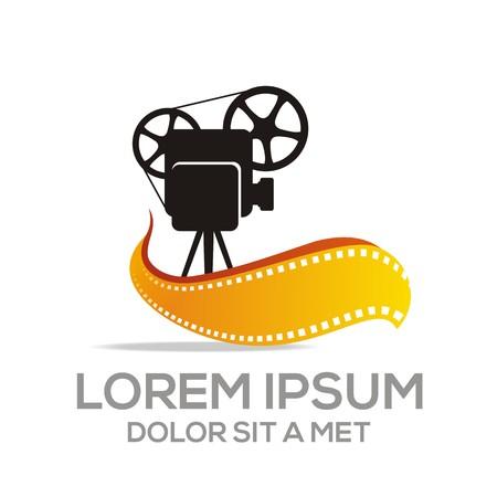 cinta pelicula: Logo Fruta Hoja Combinación Película Vídeo Cine Ilustración