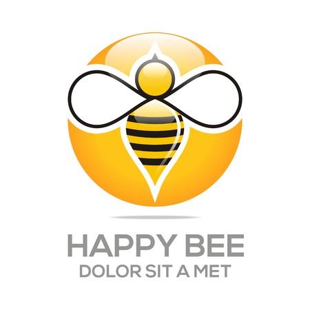 bee: Логотип Улей Сладкий Природные и соты Дизайн Иллюстрация