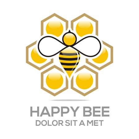 Logo Beehive Sweet Natural And Honeycomb Design