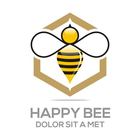Logo Beehive Sweet Natural And Honeycomb Design