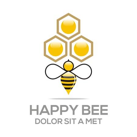 abejas panal: Logo de la colmena dulce natural y Honeycomb Diseño