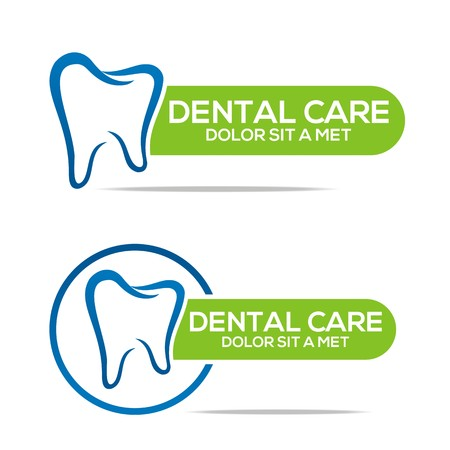 Logo Dental Healthy Care Tooth Protection Oral Vettoriali