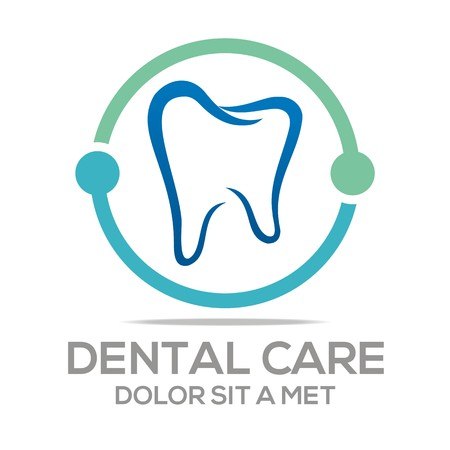Logo Dental Healthy Care Tooth Protection Oral Ilustração