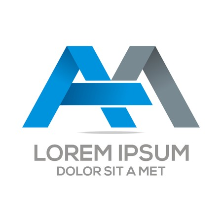 Logo Vector AM Lettermark Abstract Business Çizim