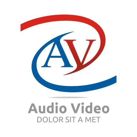av: Logo letter av audio video icon design