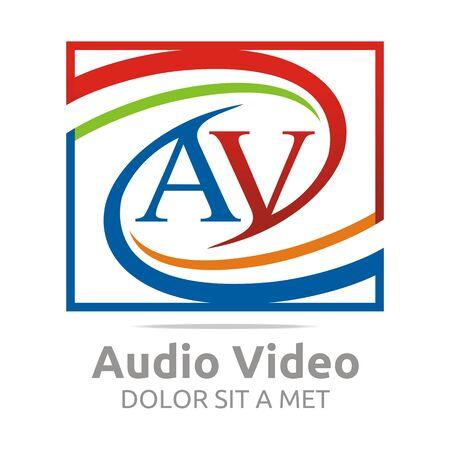 audio video: Logo letter av audio video icon design