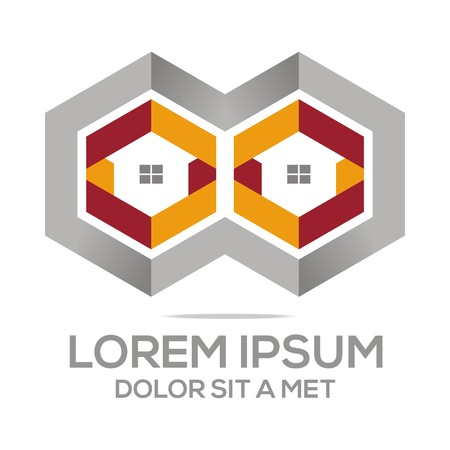 building lot: Logo Abstract House Building Real Estate Design Vector