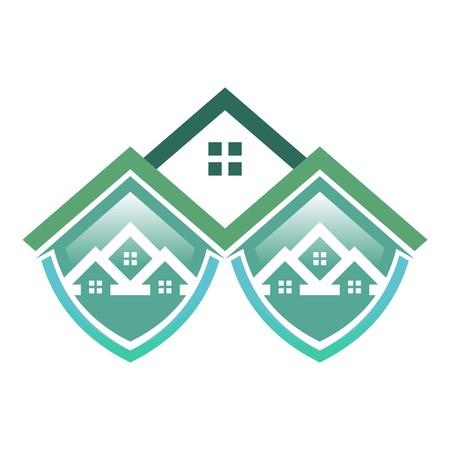 hypothec: Real estate Mortgage Home Card Illustration Construction Company Logo